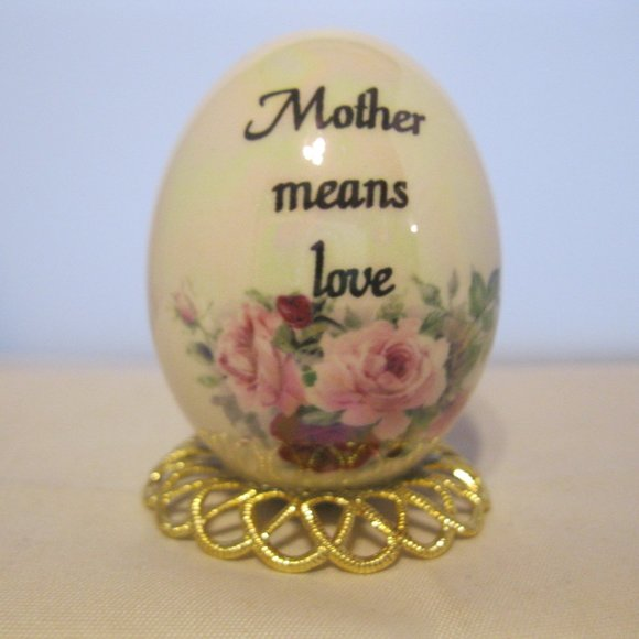 Hand Blown Glass Egg Hand Painted Mother Means Luv